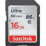 16 GB SanDisk Ultra 80MB/s SDHC Class 10 Retail
