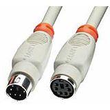 (€4,90*/1m) 1.00m Lindy PS/2 Verlängerungskabel PS/2 Stecker auf PS/2 Buchse Weiß/Orange