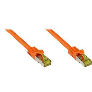 (€0,74*/1m) 50.00m Good Connections Cat. 7 Rohkabel Patchkabel S/FTP PiMF RJ45 Stecker auf RJ45 Stecker Orange halogenfrei/vergoldet