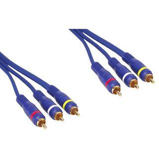 (€4,38*/1m) 5.00m Good Connections Audio/Video Anschlusskabel Premium-Line 3xCinch Stecker auf 3xCinch Stecker Lila