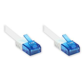 3.00m Good Connections Cat. 6a Patchkabel flach U/UTP RJ45 Stecker auf RJ45 Stecker Weiß vergoldet