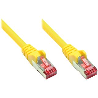 (€26,00*/1m) 0.15m Good Connections Cat. 6 Patchkabel S/FTP PiMF RJ45 Stecker auf RJ45 Stecker Gelb Knickschutzelement/PVC/vergoldet