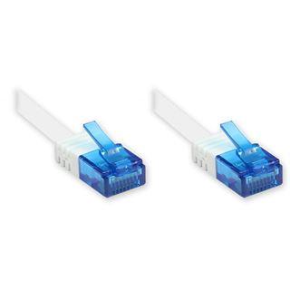 15.00m Good Connections Cat. 6a Patchkabel flach U/UTP RJ45 Stecker auf RJ12 Stecker Weiß Knickschutzelement