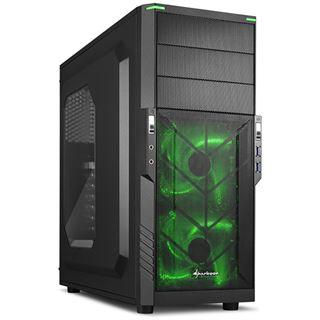 Sharkoon T3-W grün Midi Tower ohne Netzteil schwarz