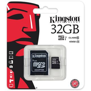 32 GB Kingston SDC10G2 microSDHC Class 10 Retail inkl. Adapter auf SD