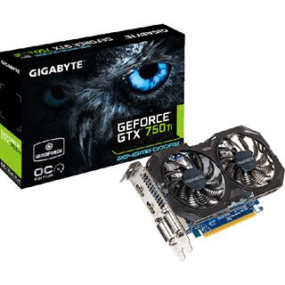 2GB Gigabyte GeForce GTX 750 Ti Windforce 2X OC Aktiv PCIe 3.0 x16 (Retail)