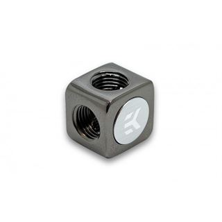 EK Water Blocks EK-AF X-Splitter 4x G1/4 female - schwarz vernickelt