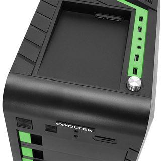 Cooltek GT-04 mit Sichtfenster Midi Tower ohne Netzteil schwarz/gruen