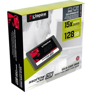 """128GB Kingston SSDNow KC400 - Upgrade Bundle Kit 2.5"""" (6.4cm) SATA 6Gb/s MLC (SKC400S3B7A/128G)"""