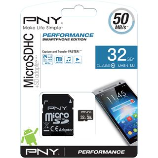 32 GB PNY Performance 2015 microSDHC Class 10 U1 Retail inkl. Adapter