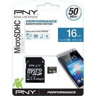 16 GB PNY Performance 2015 microSDHC Class 10 Retail inkl. Adapter auf SD
