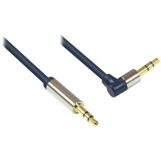 3.00m Good Connections Audio Anschlusskabel gewinkelt rechts 3.5mm Klinken-Stecker auf 3.5mm Klinken-Stecker Blau vergoldet