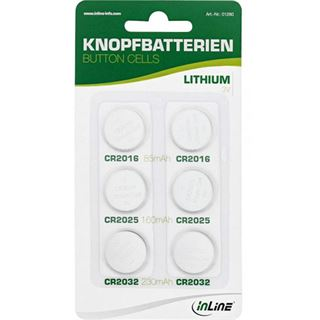 InLine CR2016/CR2025/CR2032 Lithium Knopfzellen Batterie 3.0 V 6er Pack