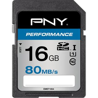 16 GB PNY Performance 80MB/s SDHC Class 10 U1 Retail