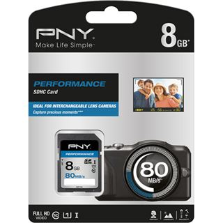 8 GB PNY Performance 80MB/s SDHC Class 10 U1 Retail