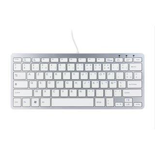R-GO Tools Ergo Compact Tastatur AZERTY USB Englisch silber (kabelgebunden)