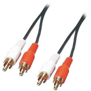 (€0,89*/1m) 10.00m Lindy Audio Anschlusskabel 2xCinch Stecker auf 2xCinch Stecker Weiß/Rot