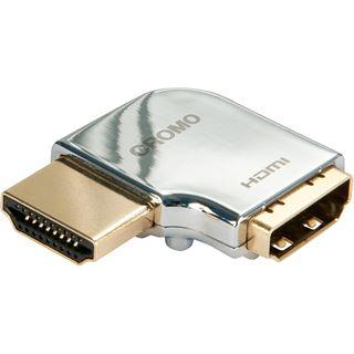 Lindy HDMI Adapter Cromo HDMI-Stecker auf HDMI-Buchse Silber gewinkelt links / vergoldet