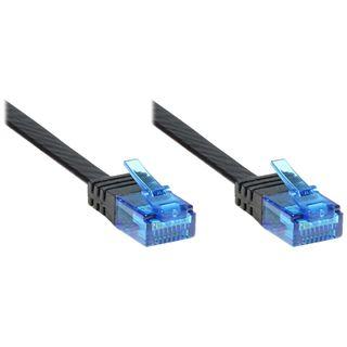 5.00m Good Connections Cat. 6a Patchkabel flach U/UTP RJ45 Stecker auf RJ45 Stecker Schwarz Knickschutzelement/ungeschirmt