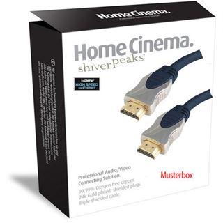 5.00m ShiverPeaks Audio Anschlusskabel 2xCinch Stecker auf 2xCinch Stecker Blau verchromt/vergoldet
