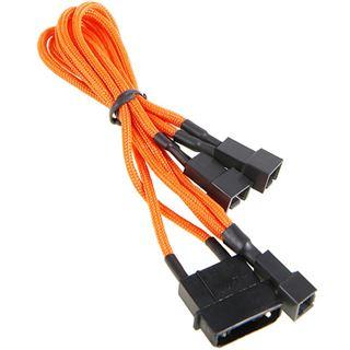 BitFenix Molex zu 3x 3-Pin 7V Adapter 20cm - sleeved orange/schwarz