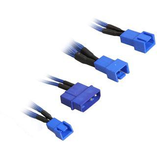BitFenix Molex zu 3x 3-Pin 5V Adapter 20cm - sleeved blau/blau