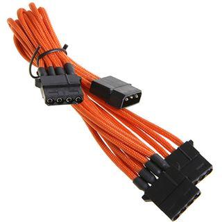 BitFenix Molex zu 3x Molex Adapter 55cm - sleeved orange/schwarz