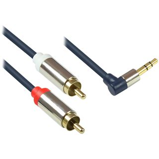(€4,90*/1m) 1.00m Good Connections Audio Anschlusskabel 2x RCA Stecker auf 3.5mm Klinke Stecker 3polig gewinkelt Blau vergoldete Stecker/Vollmetallstecker