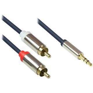(€4,90*/1m) 1.00m Good Connections Audio Anschlusskabel doppelt geschirmt 2x RCA Stecker auf 3.5mm Klinke Stecker 3polig Blau vergoldete Stecker