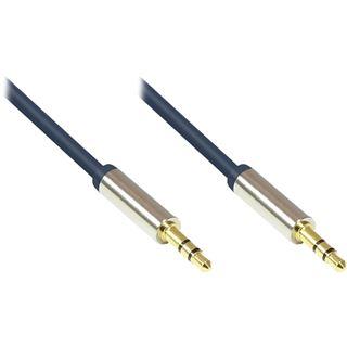 (€0,98*/1m) 5.00m Good Connections Audio Anschlusskabel 3.5mm Klinke Buchse Stereo auf 3.5mm Klinke Stecker 3polig Blau vergoldete Stecker