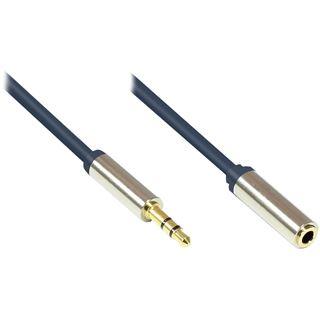 (€4,90*/1m) 1.00m Good Connections Audio Anschlusskabel 3.5mm Klinke Stecker 3polig auf 3.5mm Klinke Buchse Stereo Blau vergoldete Stecker