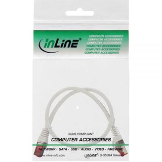 (€15,60*/1m) 0.25m InLine Cat. 6 Patchkabel S/FTP PiMF RJ45 Stecker auf RJ45 Stecker Weiß halogenfrei