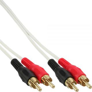 0.50m InLine Audio Anschlusskabel 2xCinch Stecker auf 2xCinch Stecker Weiß vergoldet