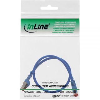 (€13,00*/1m) 0.30m InLine Cat. 6 Patchkabel S/FTP PiMF RJ45 Stecker auf RJ45 Stecker Blau halogenfrei