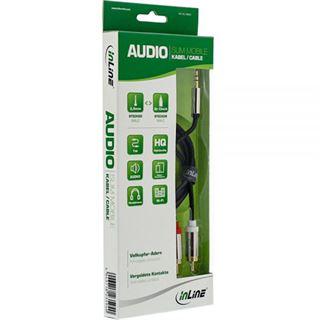 (€6,90*/1m) 1.00m InLine Audio Adapterkabel 3.5mm Klinke Buchse Stereo auf 2xCinch Stecker Schwarz Slim