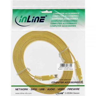 (€1,38*/1m) 5.00m InLine Cat. 6 Patchkabel flach U/UTP RJ45 Stecker auf RJ45 Stecker Gelb