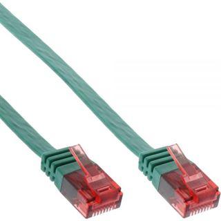 (€1,95*/1m) 2.00m InLine Cat. 6 Patchkabel flach U/UTP RJ45 Stecker auf RJ45 Stecker Grün