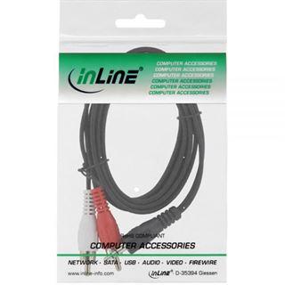 (€3,90*/1m) 1.00m InLine Audio Adapterkabel Basic Line 3.5mm Klinke Buchse Stereo auf 2xCinch Buchse Schwarz