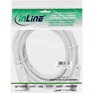 (€3,90*/1m) 1.00m InLine Antenne Anschlusskabel doppelt geschirmt IEC-Stecker auf IEC-Buchse Weiß vernickelt