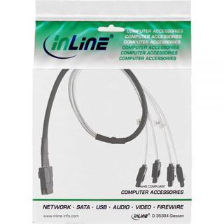 (€25,80*/1m) 0.50m InLine SAS 6Gb/s Adapterkabel SFF-8087 Stecker auf 4xSATA Stecker Schwarz OCR