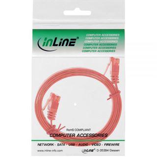 (€3,90*/1m) 1.00m InLine Cat. 6 Patchkabel flach U/UTP RJ45 Stecker auf RJ45 Stecker Rot