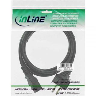 (€4,90*/1m) 1.00m InLine Stromkabel Schutzkontakt Buchse auf Kaltgeräte Stecker C13 Schwarz Schutzkontakt