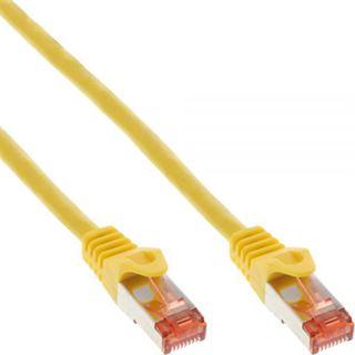 (€13,00*/1m) 0.30m InLine Cat. 6 Patchkabel S/FTP PiMF RJ45 Stecker auf RJ45 Stecker Gelb halogenfrei