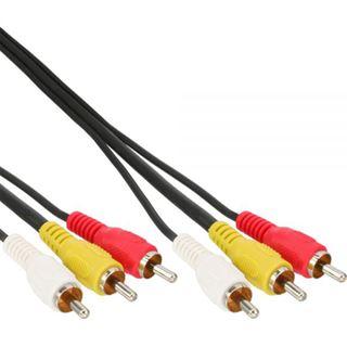 (€7,80*/1m) 0.50m InLine Audio/Video Anschlusskabel 3xCinch Stecker auf 3xCinch Stecker Schwarz