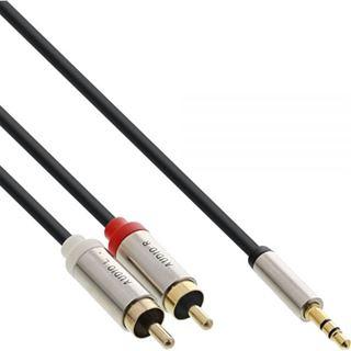 (€0,89*/1m) 10.00m InLine Audio Adapterkabel 3.5mm Klinke Buchse Stereo auf 2xCinch Stecker Schwarz Slim