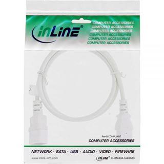 (€4,90*/1m) 1.00m InLine Verlängerungskabel Kaltgeräte Buchse C14 auf Kaltgeräte Stecker C13 Weiß