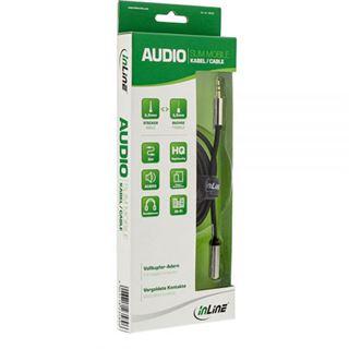 2.00m InLine Audio Verlängerungskabel 3.5mm Klinken-Stecker auf 3.5mm Klinken-Buchse Schwarz Slim