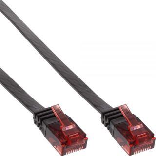 (€3,90*/1m) 1.00m InLine Cat. 6 Patchkabel flach U/UTP RJ45 Stecker auf RJ45 Stecker Schwarz