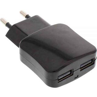 InLine USB DUO+ Ladeset, Stromadapter mit 2m Kabel, 100-240V zu 5V/2.1A, schwarz
