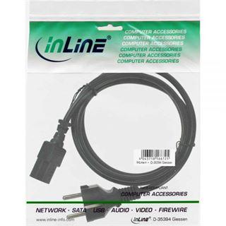 (€3,27*/1m) 1.50m InLine Stromkabel Schutzkontakt Buchse auf Kaltgeräte Stecker C13 Schwarz Schutzkontakt